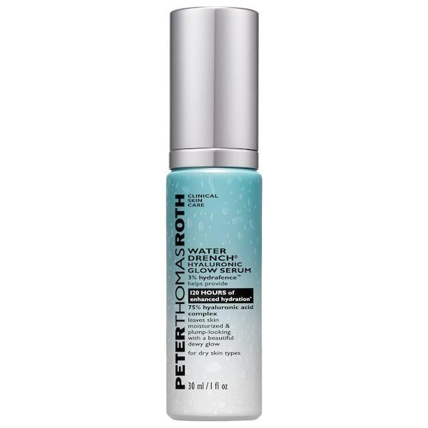 <p>There's quite a bit of hyaluronic acid in this <span>Peter Thomas Roth Water Drench Hyaluronic Glow Serum</span> ($68, available in January) to moisturize skin and plump in fine lines, too.</p>