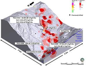 Trapper Soil-Rock Geochemistry and Drill Hole locations