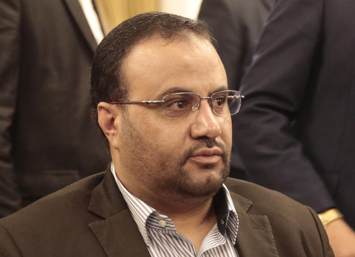 FILE - In this Aug. 6, 2016 file photo shows Saleh al-Samad, Head the political council of Houthis movement in Sanaa, Yemen. Yemen's Houthi rebels Saturday, Sept. 18, 2021, said they executed nine people for their alleged involvement in the killing of a senior Houthi official in an airstrike by the Saudi-led coalition more than three years ago. Al-Samad, who held the post of president in the Houthi-backed political body, was killed in an airstrike by the Saudi-led coalition in the coastal city of Hodeida. (AP Photo/Hani Mohammed, File)