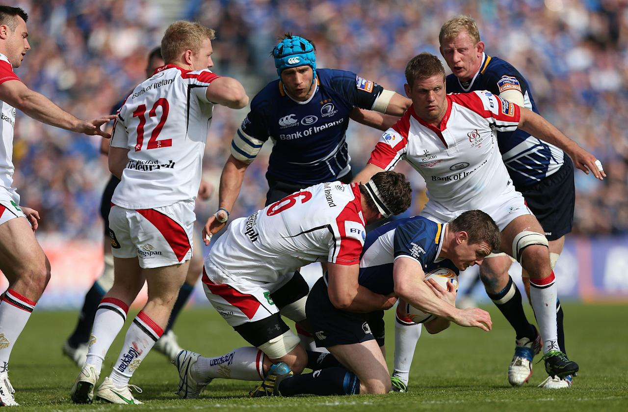 Leinster's Brian O'Driscoll is tackled during the RaboDirect PRO12 Final at the RDS, Dublin, Ireland.