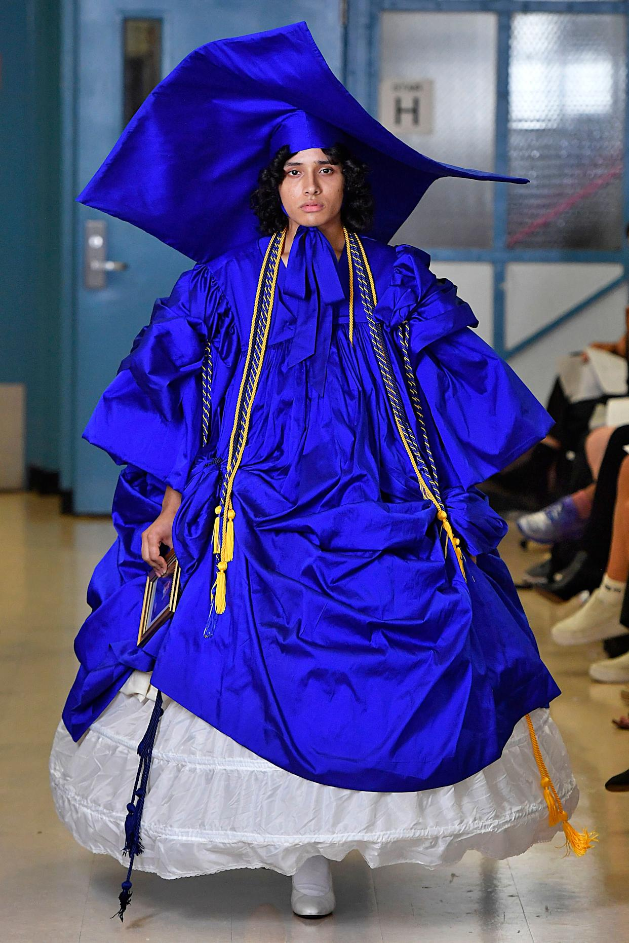 According to the Vaquera show, which took place on Sept. 11, mortarboards (a.k.a. graduation caps) of epic proportions are an it accessory for spring 2019.
