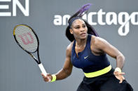 Serena Williams prepares to return a shot to her sister Venus Williams during the WTA tennis tournament in Nicholasville, Ky., Thursday, Aug. 13, 2020. (AP Photo/Timothy D. Easley)