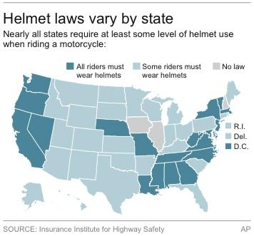 Map shows motorcycle helmet laws by state