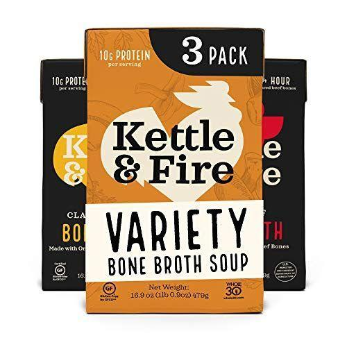 "<p><strong>Kettle & Fire</strong></p><p>amazon.com</p><p><strong>$23.40</strong></p><p><a href=""https://www.amazon.com/dp/B07B3KGF45?tag=syn-yahoo-20&ascsubtag=%5Bartid%7C2140.g.34373147%5Bsrc%7Cyahoo-us"" rel=""nofollow noopener"" target=""_blank"" data-ylk=""slk:Shop Now"" class=""link rapid-noclick-resp"">Shop Now</a></p><p>Choose from seven different varieties, including turmeric ginger, mushroom chicken, chipotle beef, and coconut curry. The bones used in the broth are grass-fed and grass-finished. </p>"
