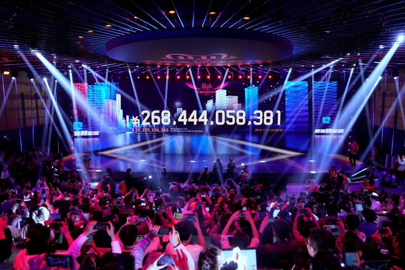 Screen shows the value of goods being transacted during Alibaba Group's Singles' Day global shopping festival at the company's headquarters in Hangzhou