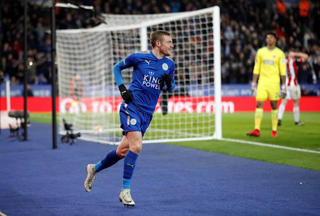 Soccer Football - FA Cup Fifth Round - Leicester City vs Sheffield United - King Power Stadium, Leicester, Britain - February 16, 2018 Leicester City's Jamie Vardy celebrates scoring their first goal Action Images via Reuters/Carl Recine