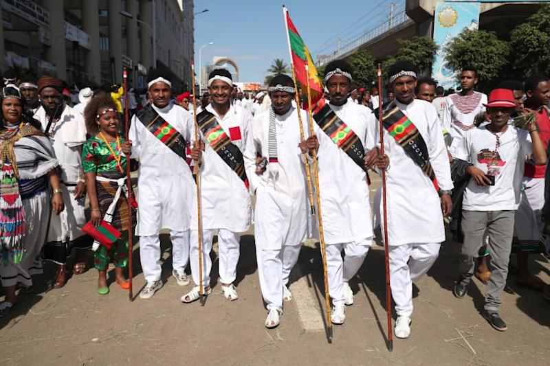 Ethiopian men dressed in traditional costumes take part in the Irreecha celebration, the Oromo People thanksgiving ceremony in Addis Ababa, Ethiopia. October 5, 2019.