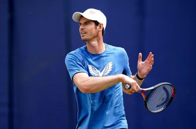 Andy Murray practices at The Queen's Club