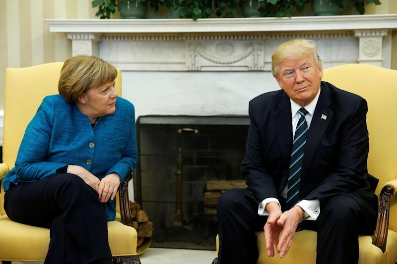 U.S. President Donald Trump meets with German Chancellor Angela Merkel at the White House on March 17.