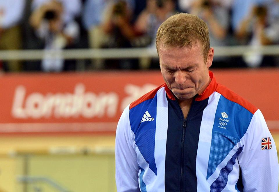 File photo dated 07/08/2012 of Great Britain's Sir Chris Hoy becomes emotional as he celebrates winning Gold in the Men's Keirin Final on day Eleven of the Olympic Games at the Velodrome in London.
