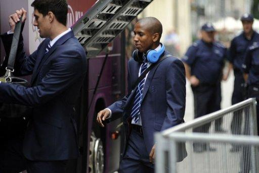 England national football team player Ashley Young leaves the Hotel Stary in Krakow