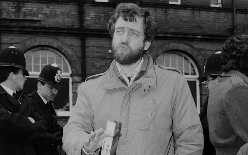 Jeremy Corbyn, speaking at a Camden Trades Council march in the 1980s - Credit: REX/Lee Jones