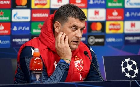 Red Star Belgrade manager Vladan Milojevic during the press conference at Tottenham Hotspur Stadium, London - Credit: PA