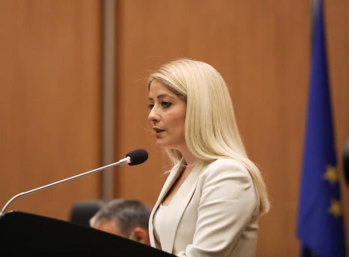 Newly elected Cypriot parliamentary speaker Annita Demetriou addresses the parliament in Nicosia