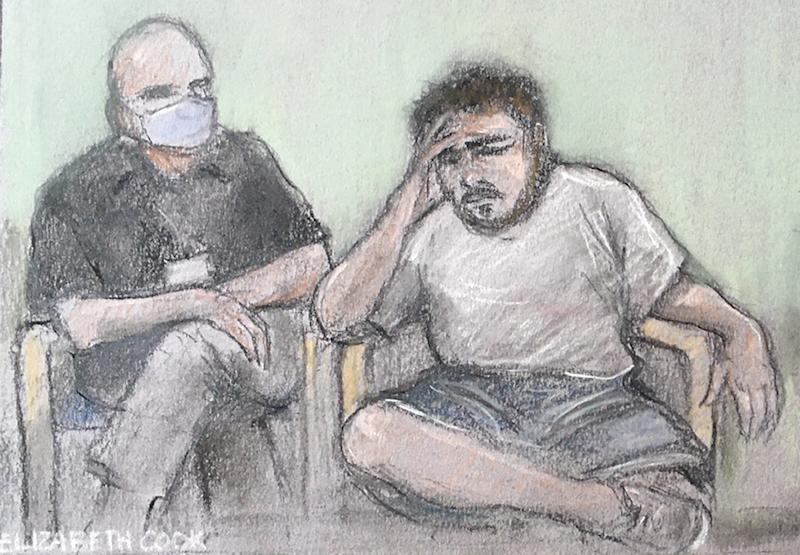 File photo dated 26/06/20 of court artist sketch by Elizabeth Cook of Jonty Bravery, 18, (right), appearing in court at the Old Bailey via videolink from Broadmoor Hospital for his sentence hearing. Council bosses spent thousands of pounds on legal fees in a failed bid to keep Tate Modern murder attempt teenager Jonty BraveryÕs name out of the public domain, the PA news agency has found.