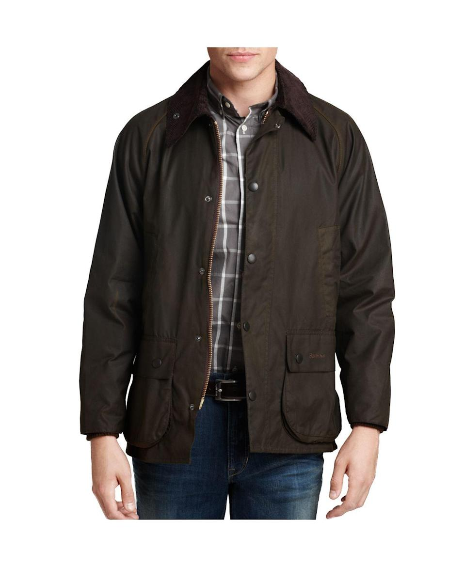 """<p><strong>Barbour</strong></p><p>amazon.com</p><p><strong>$359.00</strong></p><p><a href=""""https://www.amazon.com/dp/B009ZDIJXS?tag=syn-yahoo-20&ascsubtag=%5Bartid%7C10063.g.34761881%5Bsrc%7Cyahoo-us"""" rel=""""nofollow noopener"""" target=""""_blank"""" data-ylk=""""slk:Shop Now"""" class=""""link rapid-noclick-resp"""">Shop Now</a></p><p>Barbour's waxed cotton jackets are (<a href=""""https://www.townandcountrymag.com/society/tradition/g32379892/meghan-markle-queen-elizabeth-royal-family-barbour-photos/"""" rel=""""nofollow noopener"""" target=""""_blank"""" data-ylk=""""slk:royal-approved"""" class=""""link rapid-noclick-resp"""">royal-approved</a>) all-weather classics. The waterproof Bedale style features a corduroy collar and tartan lining befitting the king in your life. </p>"""