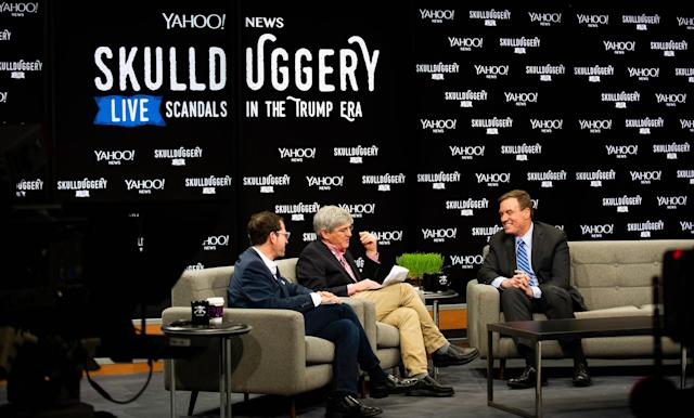 "Sen. Mark Warner, D-Va., right, talks with Yahoo News Editor in Chief Dan Klaidman, left, and Chief Investigative Correspondent Michael Isikoff during a live taping of Yahoo's ""Skullduggery"" podcast at the Newseum in Washington, D.C., on Friday. (Photo: Brian Virgo/Oath)"