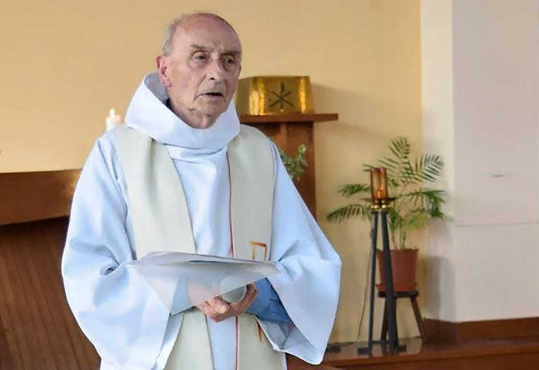 This file photo taken on June 11, 2016 shows late priest Jacques Hamel celebrating a mass in the church of Saint-Etienne-du-Rouvray, Normandy