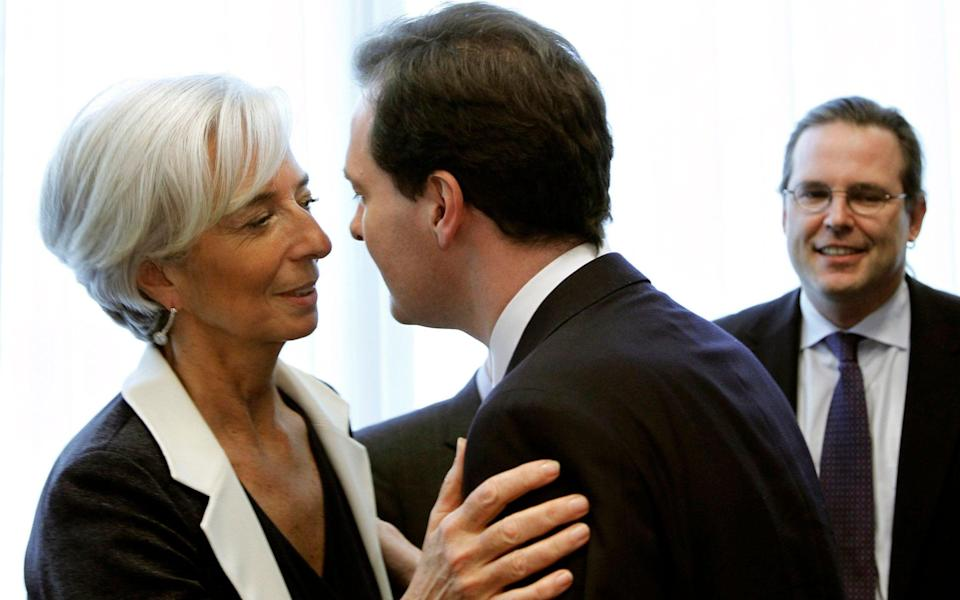 Lagarde and Osborne going in for a peck on each cheek