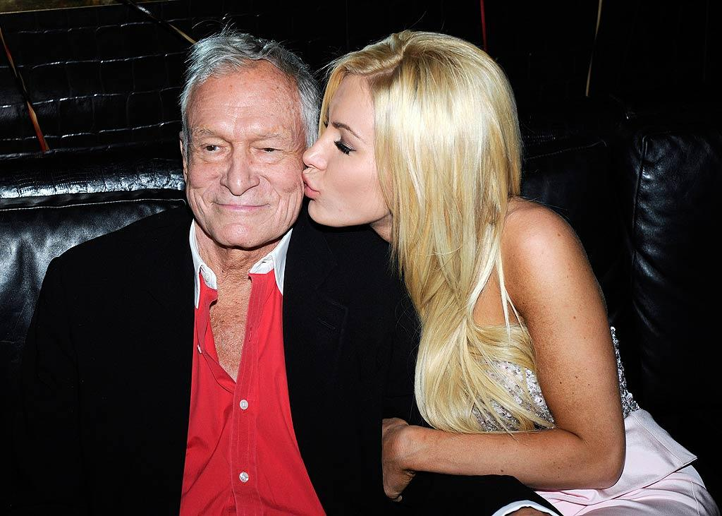 """Hugh Hefner celebrated his 85th birthday with his 24-year-old fiancee Crystal Harris at the Playboy Club at the Palms Casino Resort in Las Vegas over the weekend. Hef, who will wed Harris this June, turned the event into a double celebration with his son Marston, who rang in his 21st birthday in Sin City the same weekend. Ethan Miller/<a href=""""http://www.wireimage.com"""" target=""""new"""">WireImage.com</a> - April 9, 2011"""
