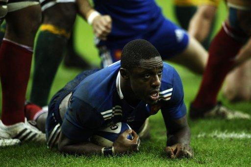 France flanker Yannick Nyanga scores during their match against Australia at the Stade de France. Nyanga sobbing prior to France's 33-6 demolition of Australia reflected how much it meant to him to be playing for France again after a five year hiatus