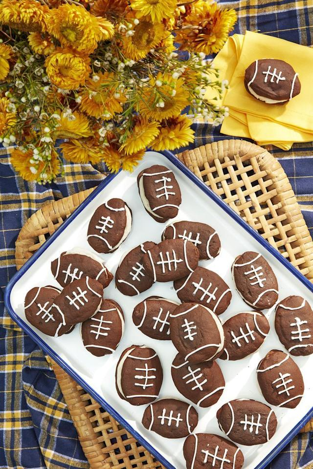 """<p>Everyone will feel like a winner you serve up a platter of these pies. They'll be a sweet addition to your <a href=""""https://www.countryliving.com/food-drinks/g1012/easy-tailgating-recipe-ideas-0910/"""">tailgate recipes</a>.</p><p><strong><a href=""""https://www.countryliving.com/food-drinks/a24276425/football-whoopie-pies-with-cinnamon-cream/"""">Get the recipe.</a></strong></p><p><strong><a class=""""body-btn-link"""" href=""""https://go.redirectingat.com?id=74968X1596630&url=https%3A%2F%2Fwww.walmart.com%2Fip%2FWilton-Bake-It-Better-Non-Stick-Baking-Pan-Set-3-Piece%2F44432741&sref=http%3A%2F%2Fwww.countryliving.com%2Ffood-drinks%2Fg938%2Fbest-pie-recipes-0510%2F"""" target=""""_blank"""">SHOP BAKING SHEETS</a><br></strong></p>"""
