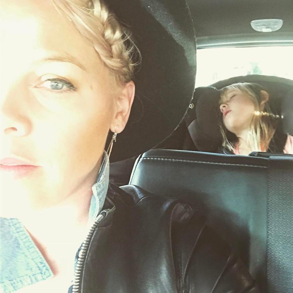 """<p></p><p><span>The singer shared some mommy realness with this pic of herself and daughter Willow passed out in the backseat of the car: """"Somebody was super excited to go to the ballgame last night #dodgers #pirates #osunawontheshoegame #donttakeafourmontholdtoabaseballgame #veggiedogs."""" (Photo: <a rel=""""nofollow"""" href=""""https://www.instagram.com/p/BT4TZTdFimm/?taken-by=pink"""">Pink via Instagram</a>)</span><br /></p><p> </p><p></p>"""