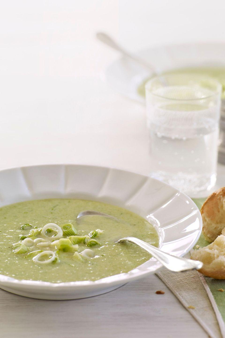 """<p>This fresh cooled soup recipe is perfect for a warm day. </p><p><strong><a href=""""https://www.countryliving.com/food-drinks/recipes/a2785/cold-cucumber-soup-recipe/"""" rel=""""nofollow noopener"""" target=""""_blank"""" data-ylk=""""slk:Get the recipe"""" class=""""link rapid-noclick-resp"""">Get the recipe</a>.</strong></p>"""