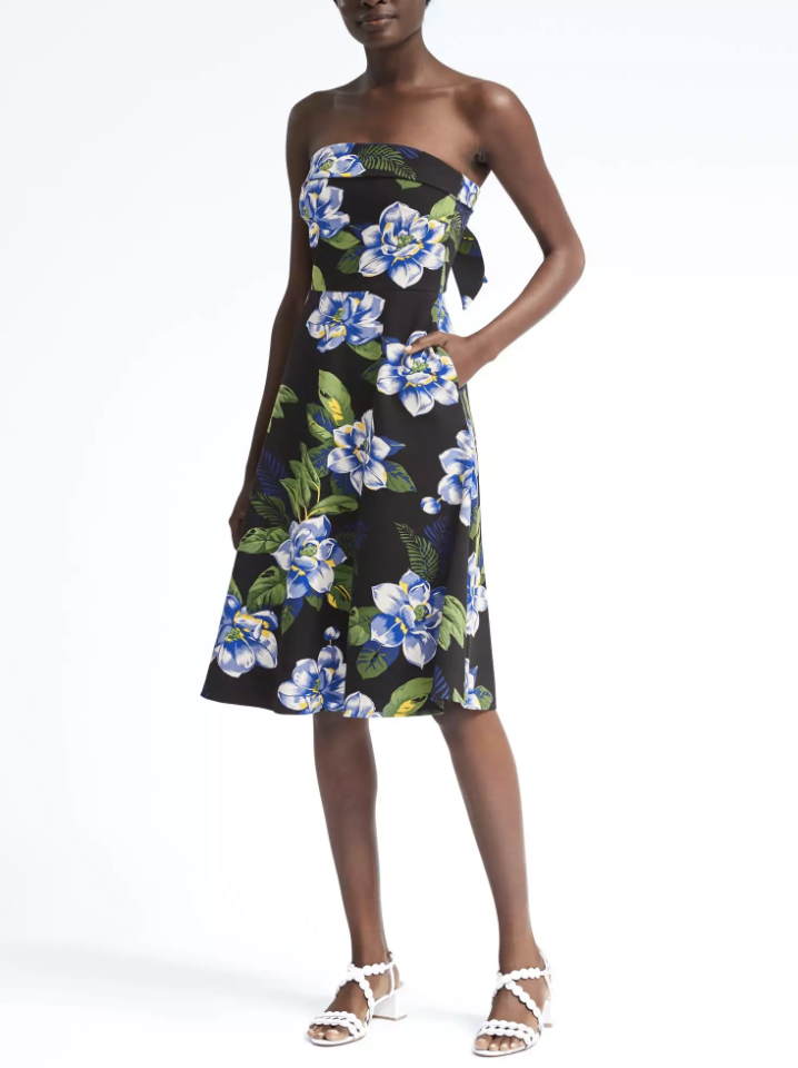 "<p>Floral Strapless Ponte Fit-and-Flare Dress, $76, <a rel=""nofollow"" href=""http://bananarepublic.gap.com/browse/product.do?vid=1&pid=784180002"">bananarepublic.com</a> </p>"
