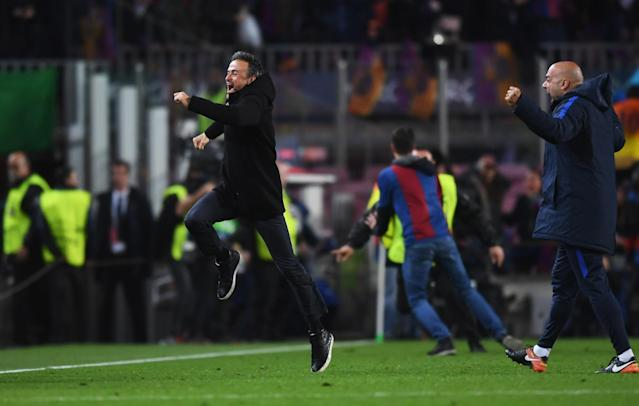 <p>Luis Enrique manager of Barcelona celebrates as Sergi Roberto of Barcelona scores their sixth goal during the UEFA Champions League Round of 16 second leg match between FC Barcelona and Paris Saint-Germain at Camp Nou on March 8, 2017 in Barcelona, Spain. (Photo by Michael Regan/Getty Images) </p>