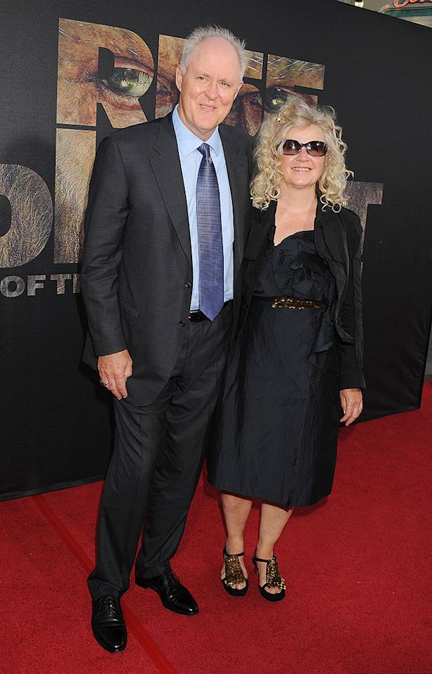 """<a href=""""http://movies.yahoo.com/movie/contributor/1800011126"""">John Lithgow</a> and Mary Yeager at the Los Angeles premiere of <a href=""""http://movies.yahoo.com/movie/1810204226/info"""">Rise of the Planet of the Apes</a> on July 28, 2011."""
