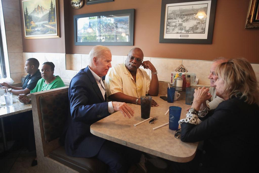 Democratic presidential candidate and former Vice President Joe Biden visits with guests at Detroit One Coney Island Restaurant on August 01, 2019 in Detroit, Michigan. (Photo by Scott Olson/Getty Images)