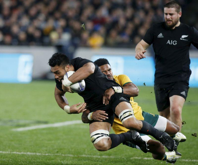 FILE PHOTO: New Zealand's All Black's Victor Vito is tackled by Australia's Henry Speight during their Bledisloe Cup rugby match at Eden Park in Auckland