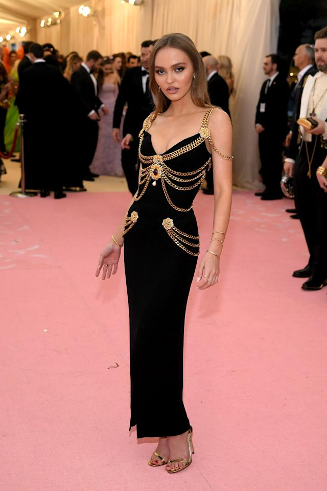 Lily went with gold chains for her Met Gala look.