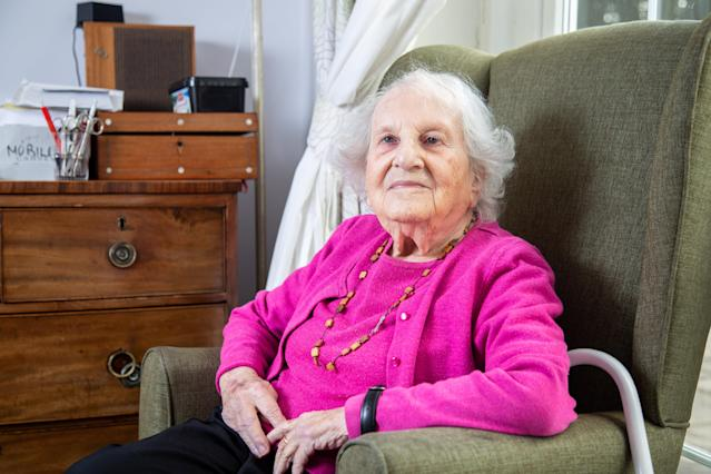 Centenarian Alice Frank Stock, now living in Bristol, spent more than a decade living in the same apartment block as Adolf Hitler when she was young. (SWNS)