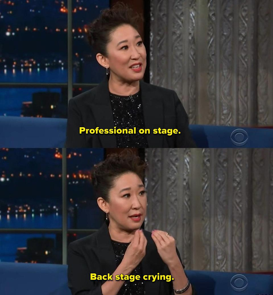 """Sandra Oh: """"Professional on stage and back stage crying"""""""