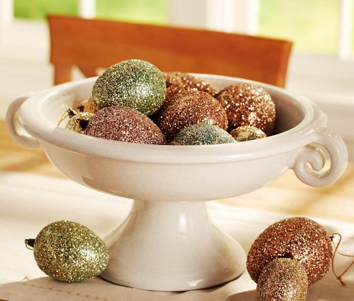 This undated publicity photo provided by Pottery Barn shows glitter covered eggs that bring some sophisticated glamour to the Easter table (www.potterybarn.com). (AP Photo/Pottery Barn, Anthony Gamboa)