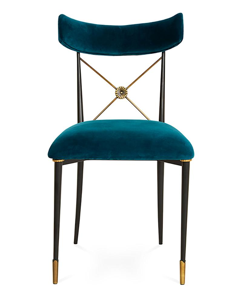 "<p>This chair would *make* a dining room, plus it has brass <em>and</em> velvet. Need we say more?</p> <p>$671 | <a rel=""nofollow"" href='http://click.linksynergy.com/fs-bin/click?id=93xLBvPhAeE&subid=0&offerid=483151.1&type=10&tmpid=5462&RD_PARM1=http%253A%252F%252Fwww.neimanmarcus.com%252FJonathan-Adler-Rider-Blue-Dining-Chair%252Fprod196550056_cat63090758__%252Fp.prod%253Ficid%253D%2526searchType%253DEndecaDrivenCat%2526rte%253D%25252Fcategory.service%25253FitemId%25253Dcat63090758%252526pageSize%25253D30%252526Nao%25253D30%252526Ns%25253DPCS_SORT%252526refinements%25253D%2526eItemId%253Dprod196550056%2526cmCat%253Dproduct&u1=I'>Neiman Marcus</a></p>"