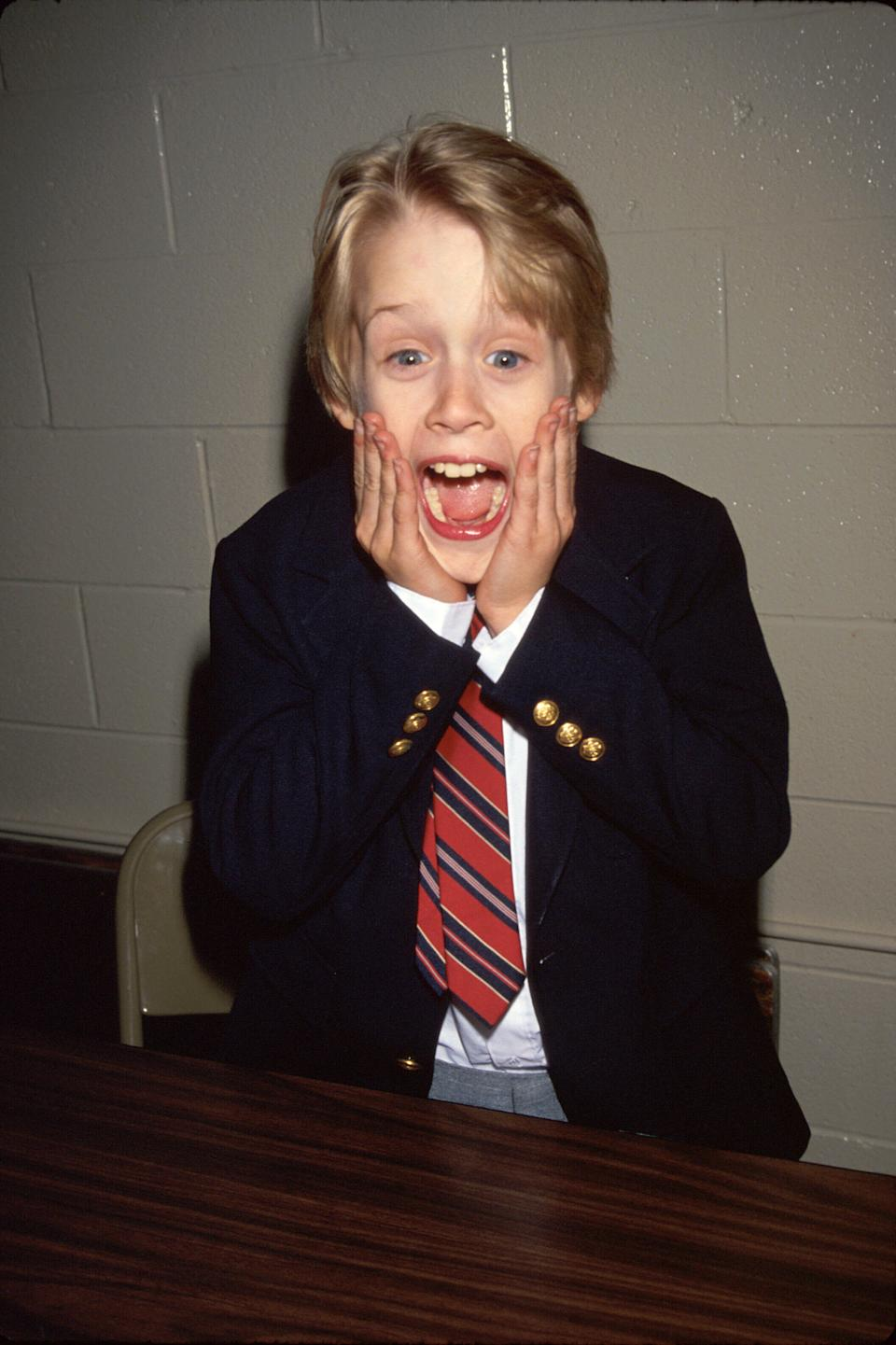 Actor Macaulay Culkin making face like his Home Alone character.  (Photo by Time Life Pictures/DMI/The LIFE Picture Collection via Getty Images)