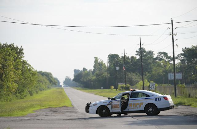 """<p>A Harris County Sheriff vehicle blocks access on the Crosby Dayton Road which leads towards the Arkema Chemical Plant in Crosby, Texas on Aug. 31, 2017. The plume of fumes from a flooded Texas chemical plant is """"incredibly dangerous,"""" the head of the U.Ss Federal Emergency Management Agency (FEMA) said Thursday. Two explosions were reported overnight at the chemical plant in the town of Crosby and officials have ordered residents within 1.5 miles (three kilometers) of the facility to evacuate. (Photo: Mandel Ngan/AFP/Getty Images) </p>"""