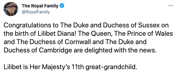 Tweet from @RoyalFamily congratulating Prince Harry and Meghan Markle on the birth of their second child, daughter Lili on June 6, 2021. Photo: Twitter/@RoyalFamily.