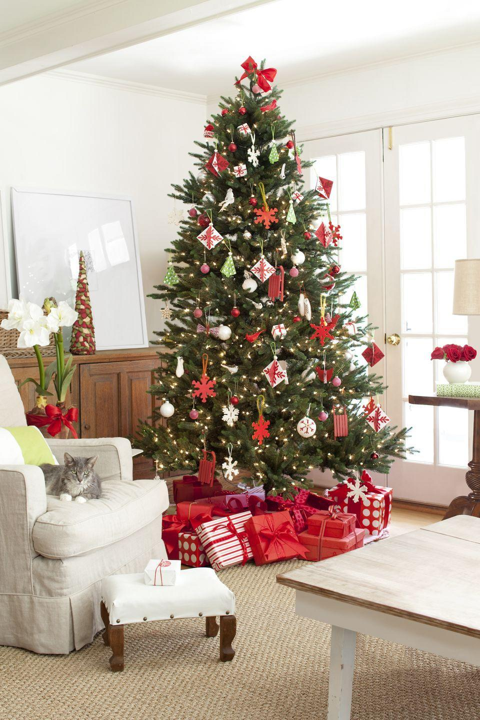 <p>Red and white is tried and true, and here's proof: An eclectic assortment of snowflakes, turtle doves, stars, sleds, and balls look perfectly coordinated in the same color scheme.</p>
