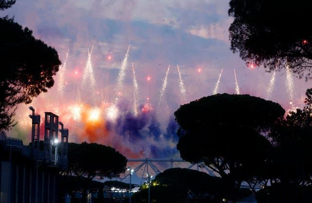 Fireworks illuminate the sky above Stadio Olimpico. Almost a year to the day since Euro 2020 was originally due to start, Rome staged the opening ceremony of the rescheduled tournament