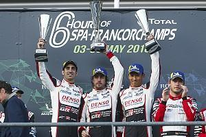 Two-time Formula 1 world champion Fernando Alonso scored his first race win since the 2013 Spanish Grand Prix as he shared victory in the FIA World Endurance Championship superseason opener at Spa with Toyota team-mates Sebastien Buemi and Kazuki Nakajima