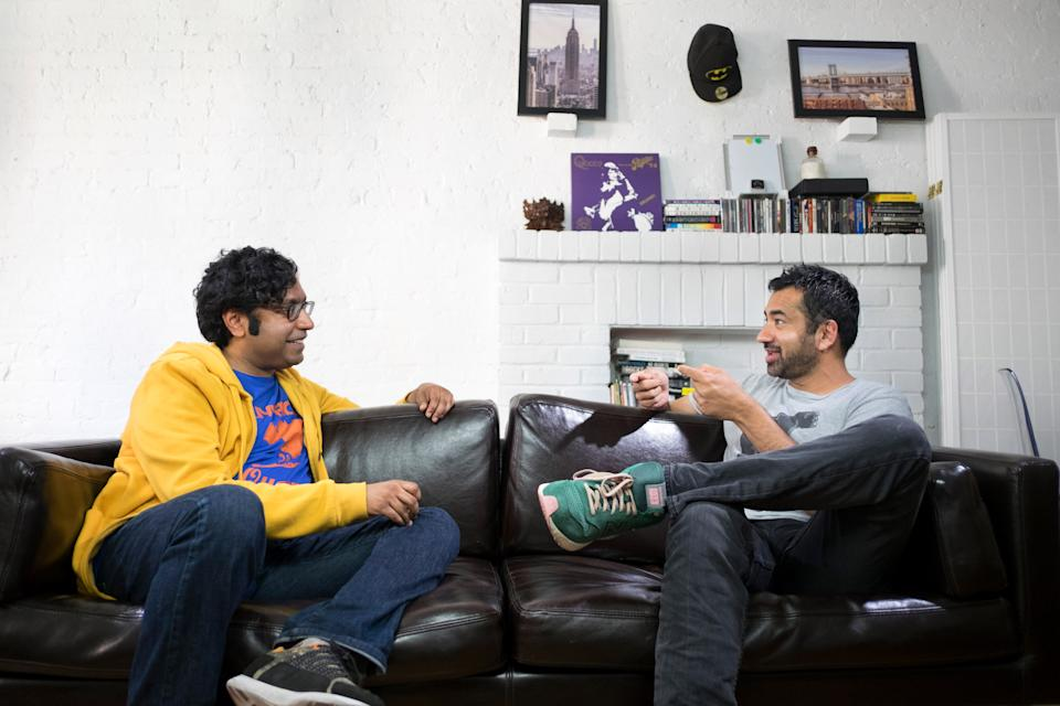 Comedian Hari Kondabolu speaks with Kal Penn in a scene from the documentary, 'The Problem with Apu' (Photo by David Scott Holloway / Turner Broadcasting System/ Courtesy Everett Collection)