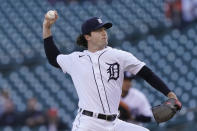 Detroit Tigers starting pitcher Casey Mize throws during the first inning of a baseball game against the Kansas City Royals, Wednesday, May 12, 2021, in Detroit. (AP Photo/Carlos Osorio)