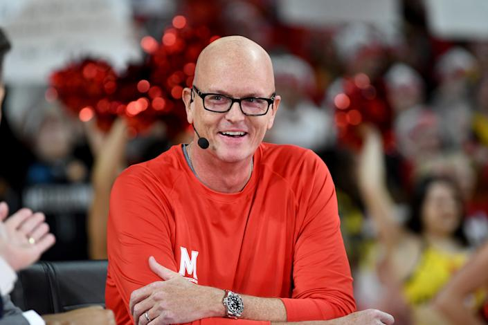 COLLEGE PARK, MD - FEBRUARY 29:  Scott Van Pelt talks during ESPN College GameDay before the game between the Maryland Terrapins and the Michigan State Spartans in the Xfinity Center on February 29, 2020 in College Park, Maryland.  (Photo by G Fiume/Maryland Terrapins/Getty Images)