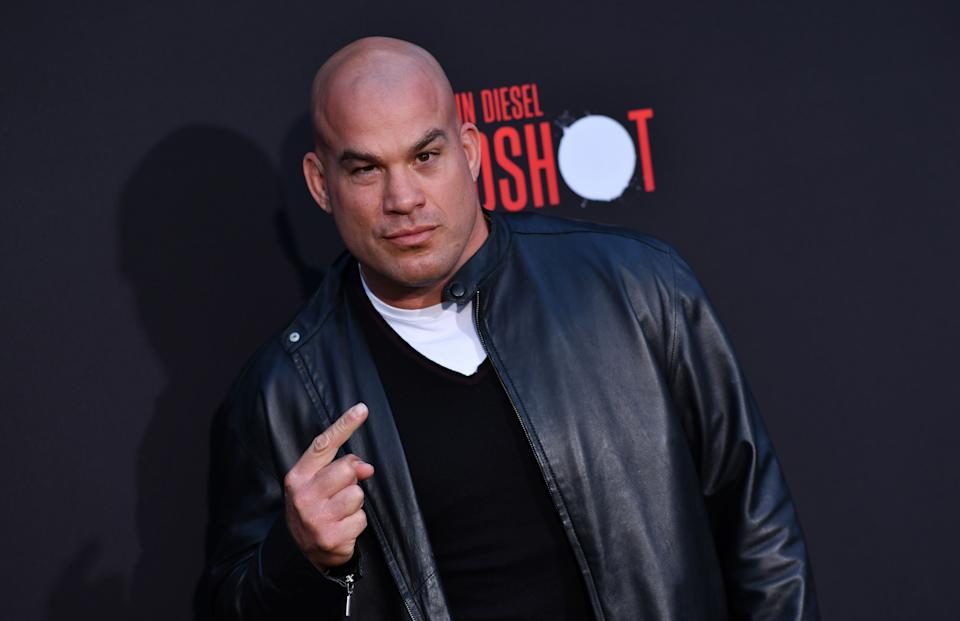 US mixed martial artist Tito Ortiz arrives for the premiere of Sony's