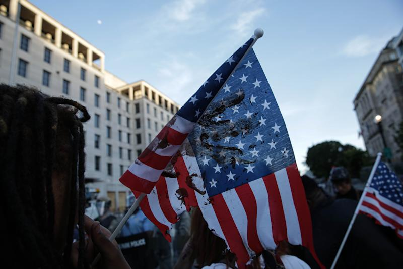 WASHINGTON, USA - JUNE 2: Security forces block the road as protesters gather near Lafayette Park ahead of President Trump's trip to St. John's Church in Washington, United States on June 2, 2020. Protests and riots continue in cities across US following the death of George Floyd, an unarmed black man who died after being pinned down by a white police officer. (Photo by Yasin Ozturk/Anadolu Agency via Getty Images)