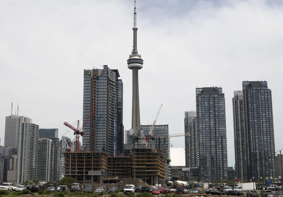 Condo buildings are seen under in construction in Toronto (REUTERS/Chris Roussakis)